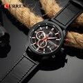 CURREN Бизнес Мужские часы классический черный кожаный ремешок хронограф наручные часы модные водонепроницаемые часы с дисплеем даты Relogio