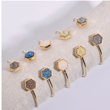 Joolim Jewlery Wholesale/5 Colors Pentagon Druzy Cuff Bracelet Simple Geometric Bracelet недорого