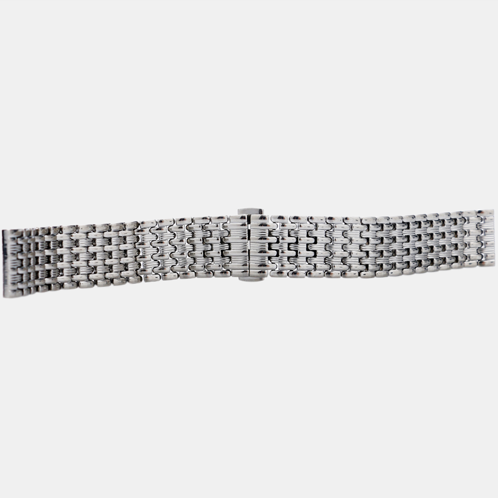 Купить с кэшбэком 18/20/22mm Silver Stainless Steel 9 Beads Watchband Deployment Buckle with Push Button Strap Bracelet Men Watches Replacement