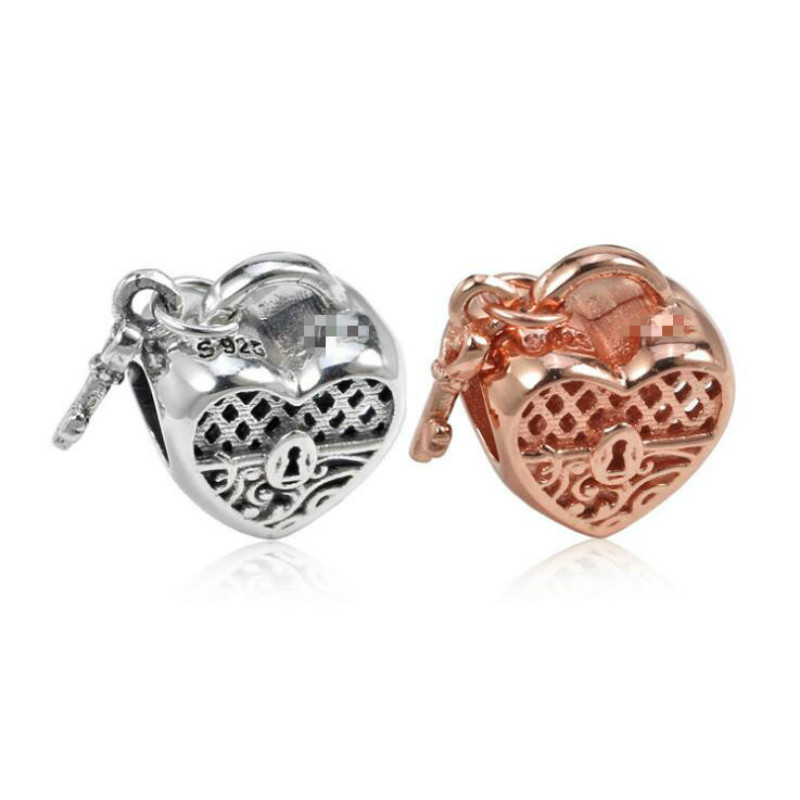 New 925 sterling silver Openwork Love Heart Lock Pendant Accessories Fits Original Pandora Bracelets DIY Women Jewelry Making