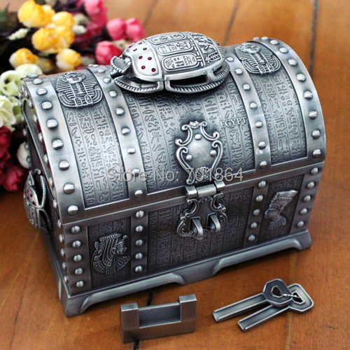 Egyptian Style Big Size Treasure Chest with Lock 2 Layers Vintage