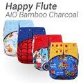 10 pcs Feliz Flauta Fralda AIO, dois Lados do Bolso Fralda de Pano de Bambu do Carvão Vegetal, costuradas em Inserção Duplo Gussets Fralda Do Bebê