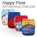 10pcs Happy Flute AIO Diaper, Two Sides Pocket Bamboo Charcoal Cloth Diaper, Sewn in Insert Double Gussets Baby Nappy