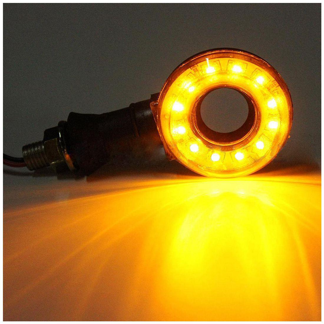 2X мотоциклов круглый полый светодиодный поворотники Индикатор мигалки Amber лампы 12 В