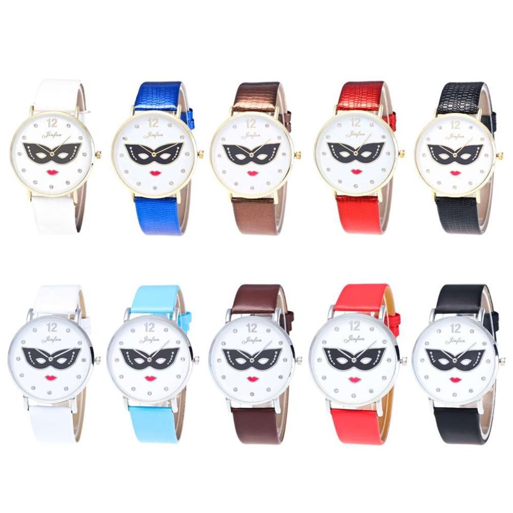 b9135def8f3 Moda Masked Menina Padrão Redonda Dial PU Pulseira De Couro Mulher Relógio  De Quartzo Relógio de Pulso de Ouro Prata Caso Senhora Relojes Mujer