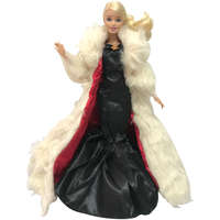 NK One Pcs Limited Edition Doll Dress Fairy Tale Noble Outfit Wedding Evening Party Fur Overcoat For Barbie Doll Cosplay Gown