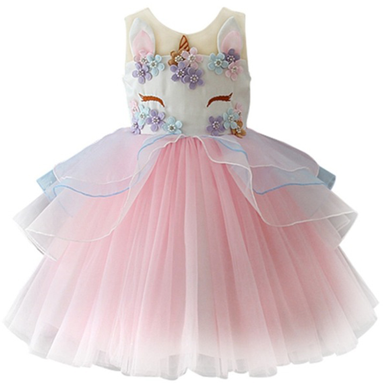Fancy Kids Unicorn Dress for Girls Embroidery Flower Ball Gown Baby Girl Princess Dresses for Party Costumes vestido unicornio