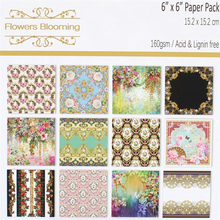 YPP CRAFT 12 Flowers Blooming Scrapbooking Pads Paper Origami Art Background Paper Card Making DIY Scrapbook Paper Craft(China)