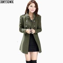 Модная одежда для девочек, теплая зимняя одежда для двубортное шерстяное пальто/Для женщин Тренч длинная двубортная одежда с Куртки