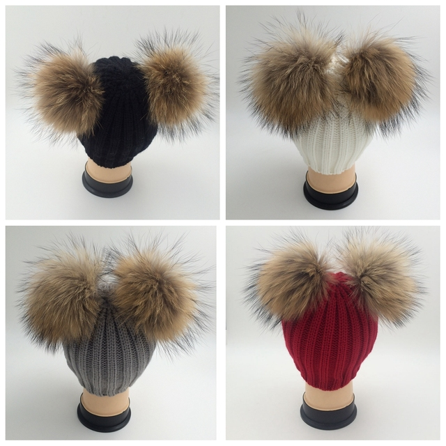 Double Pom Women Fur Beanie Hat Woolen Knitted Bobble Ski Winter Warm New LTT9104