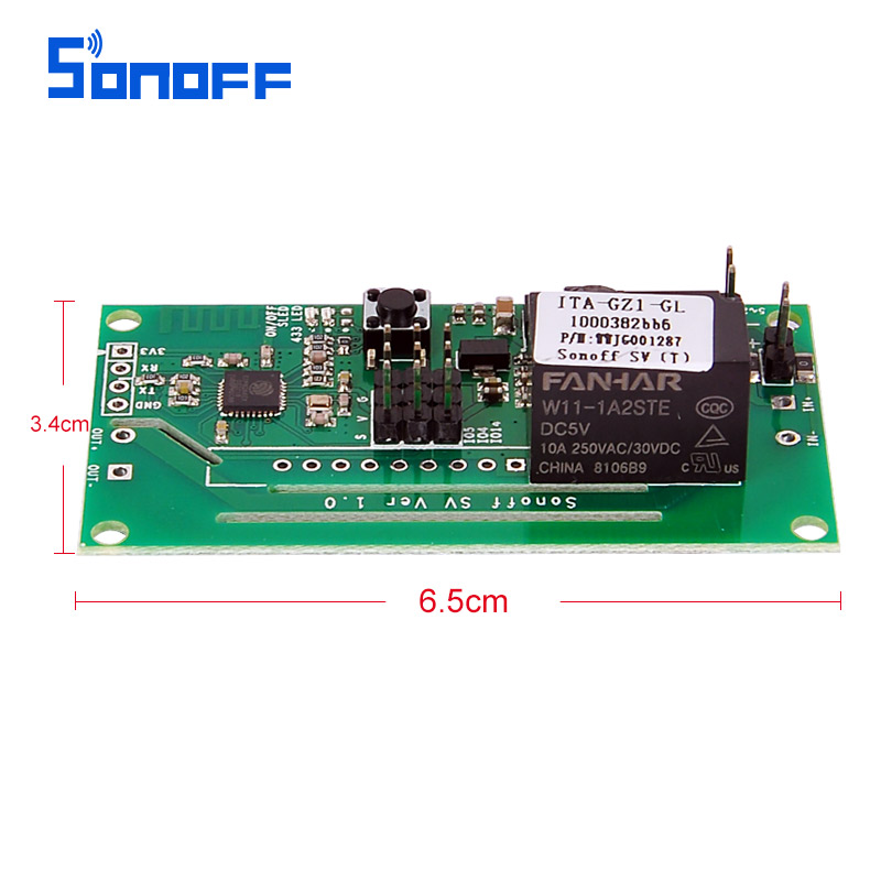 Sonoff SV Safe Voltage WiFi Wireless Switch Module Support Secondary Development 5V 12V for IOS Android Smart Home EWILINK