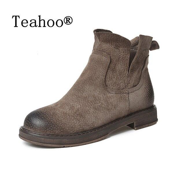 Donne di modo Stivali di Pelle autunno inverno donna stivaletti nuovo nero donna stivali da neve per le ragazze signore scarpe da lavoro di spessore lana