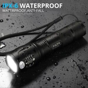 Image 2 - Lampe tactique de pêche de Camping, lanterne étanche, lampe de poche LED lumineuses, T6 V6 L2, lampe Rechargeable, auto défense, 18650, 8000lm