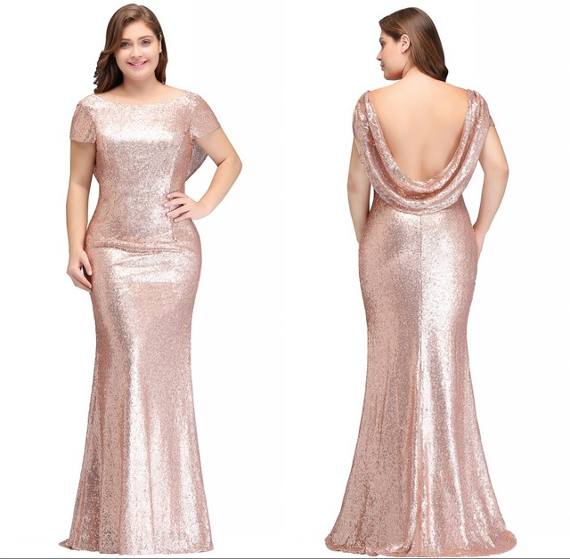 5b2e10223ab6 Newly 2-26W Reflective Dress Rose Gold Sequined Bridesmaid Dresses Long  2019 Mermaid Plus Size Prom Dresses Wedding Party Gowns