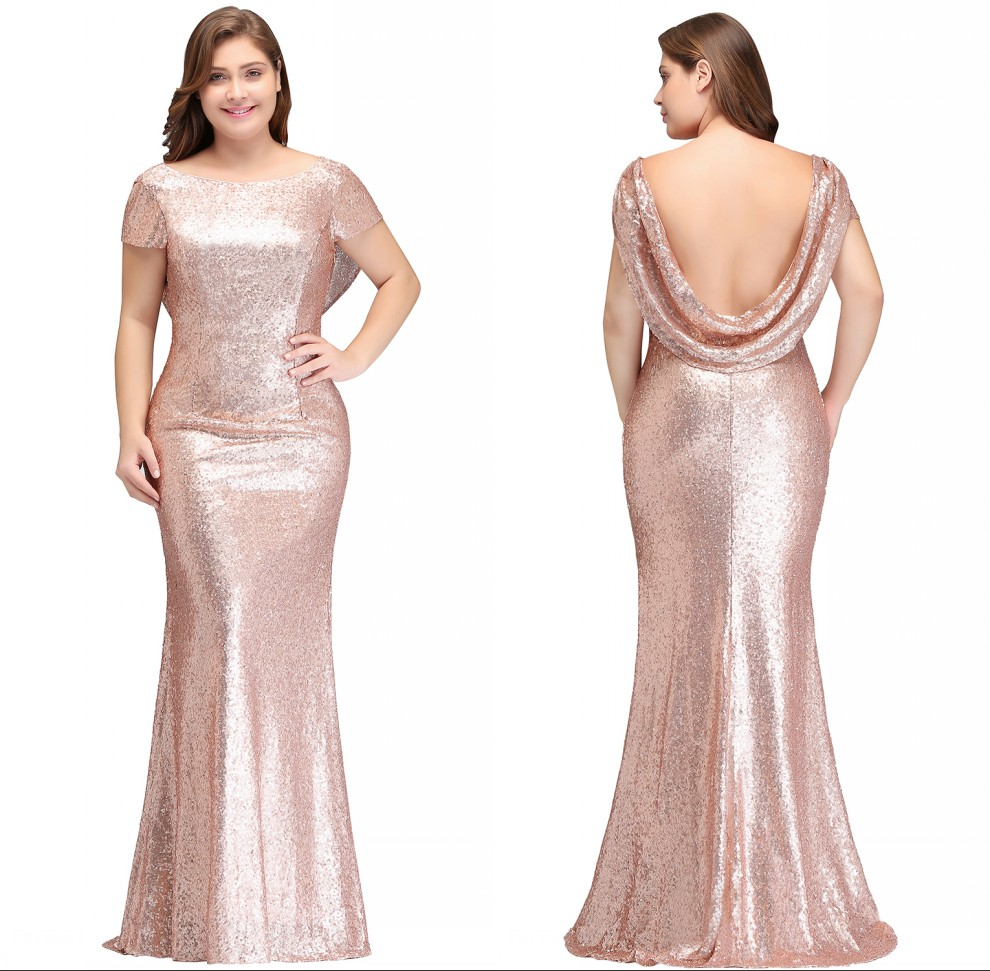 Newly 2-26W Reflective   Dress   Rose Gold Sequined   Bridesmaid     Dresses   Long 2019 Mermaid Plus Size Prom   Dresses   Wedding Party Gowns