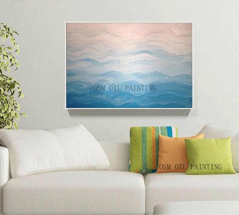 27 35 50 De Réduction Haute Qualité Couleur Claire Beau Paysage Peinture à L Huile Abstraite Bleu Mer Peinture à L Huile Pour Mur Moderne Décoration