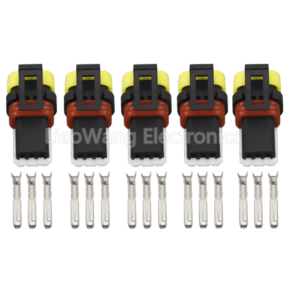 5 Sets 3 Pin Car Connector Headlight Height Adjustment Motor Plug Harness DJ7035-0.6-21