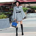 2016 Autumn Europe Newest Fashion Turn-down Collar Double Breasted Bat Sleeved Silk Cloak With Sashes Woolen Dust Coat Women