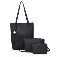 2017 New Casual Women Shoulder Bags Set Fashion Designer PU leather Handbags Solid Composite Bag women