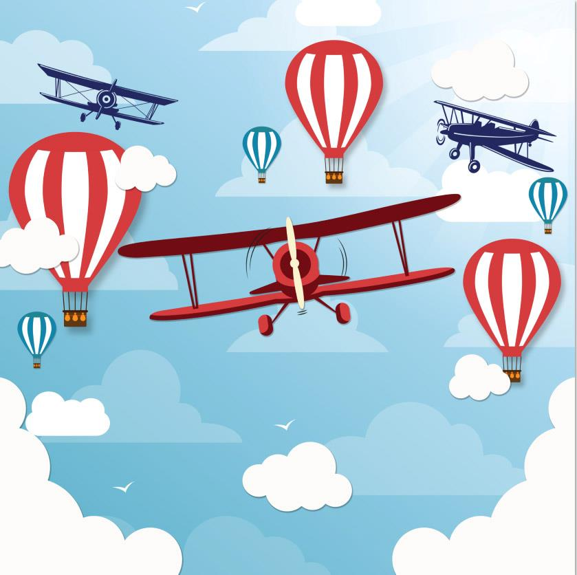 Light Blue Sky Clouds Retro Planes Helicopters Air Balloons background Vinyl cloth Computer print wall photo backdrop