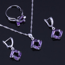 Impressive Quadrilateral Purple Cubic Zirconia 925 Sterling Silver Jewelry Sets For Women Earrings Pendant Chain Ring V0976