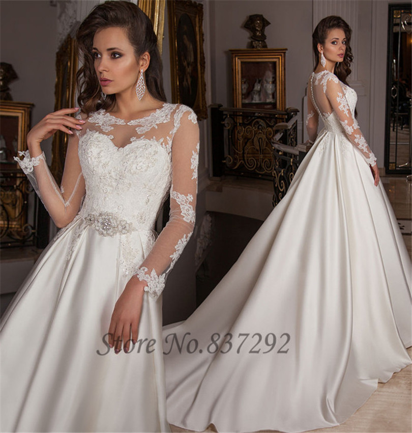 New design long sleeve wedding dress lace satin 2016 ball for Satin belt for wedding dress