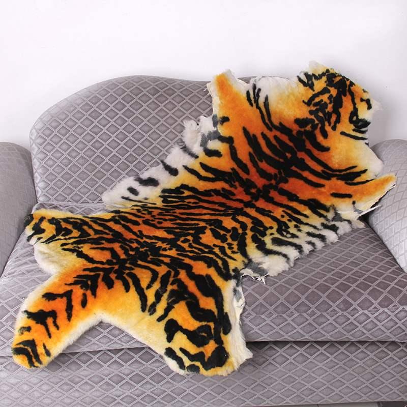 Haute qualité tapis australie pure laine cuir imitation peau de tigre tapis salon tapis chaise coussin siège animal couverture - 4