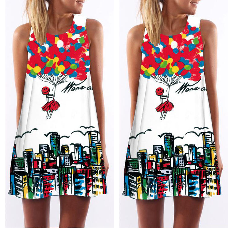 2016 Dress Women Summer Clothing Elegant Beautiful Flower Sleeveless Mini Beach Casual Party High Quality Dress Fashion Lady