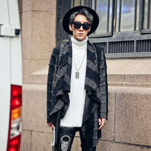 Men Stylish Asymmetric Hem Loose Wind Coats Jacket Punk Striped Capes Hot