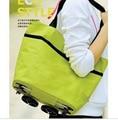 Oxford cloth zipper manufacturers supply portable folding bag shopping bag advertising tug wheels