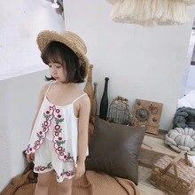 Комбинезоны для маленьких девочек; сезон лето; хлопок; комбинезон с цветочной вышивкой для малышей; одежда для малышей; летняя одежда