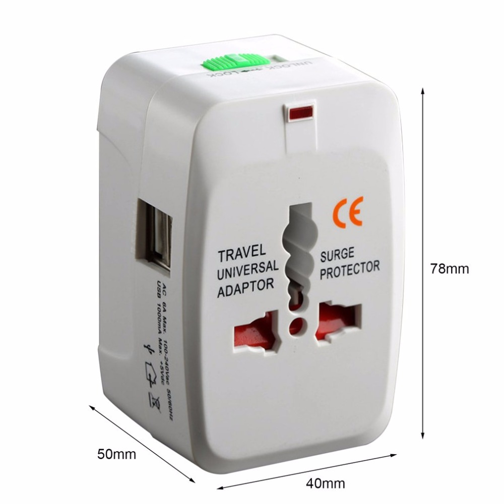 Universal Adapter Dual USB Power Charger Converter International Travel Electric Plug Portable All in One Converting Socket in International Plug Adaptor from Consumer Electronics