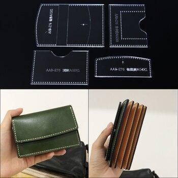 32454f3a0 1 Juego de acrílico de cuero Plantilla de casa, hecho a mano cartera patrón  de costura herramientas tarjeta accesorio cartera patrón de 7x10,5x2 cm
