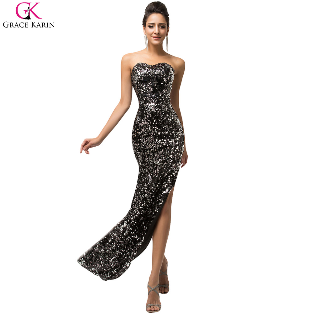 sexy black evening dress grace karin glitter high slits gold sequin formal gowns robe de soiree. Black Bedroom Furniture Sets. Home Design Ideas