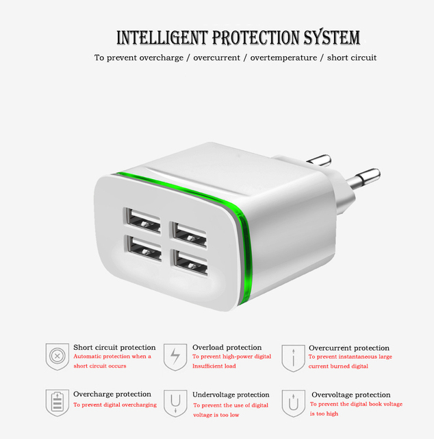 LED Light Micro USB Charger 5V 4A 4 Ports Fast Charging