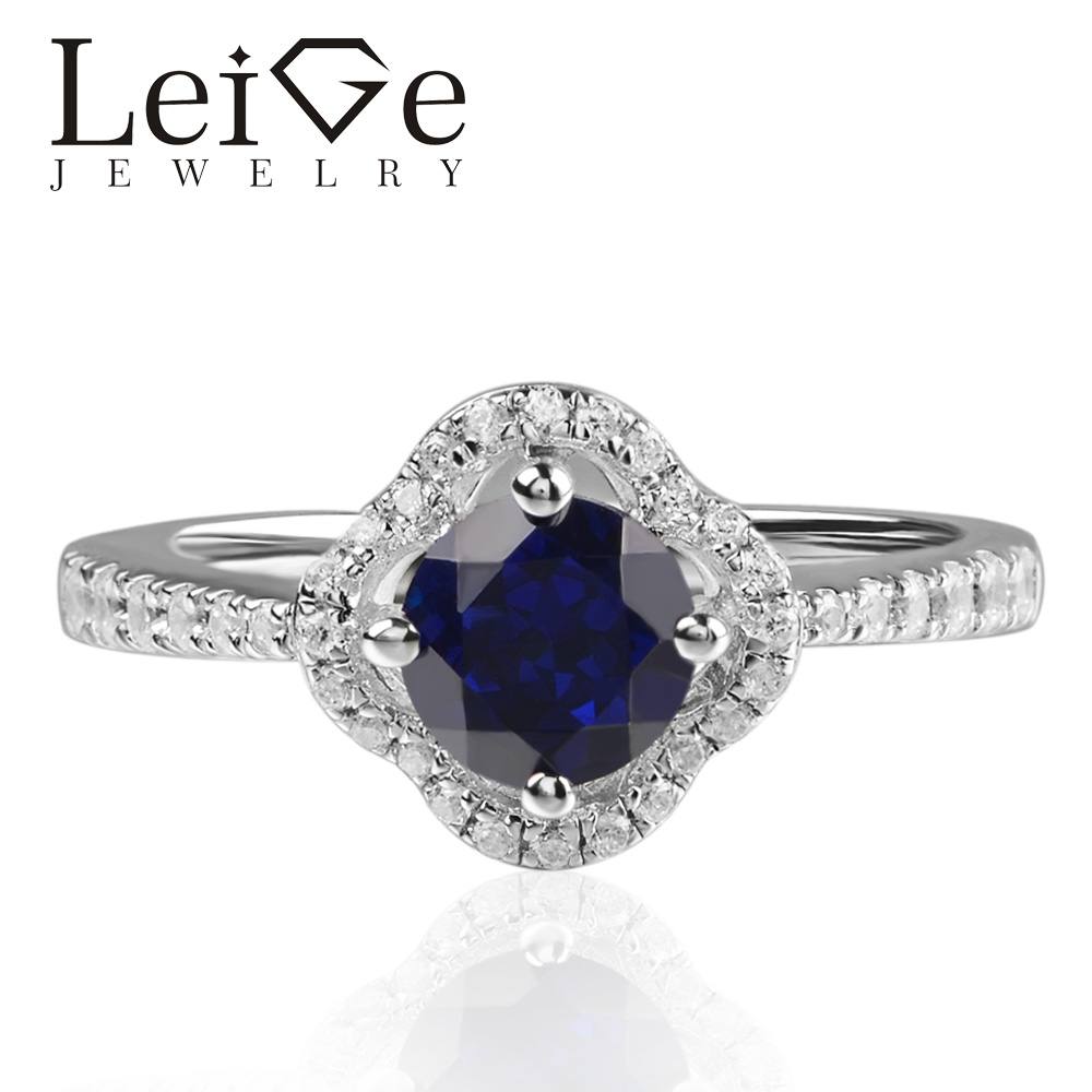 Leige Jewelry Lab Sapphire Rings Round Shape Halo Ring Romantic Gifts For Woman 925 Sterling SilverLeige Jewelry Lab Sapphire Rings Round Shape Halo Ring Romantic Gifts For Woman 925 Sterling Silver