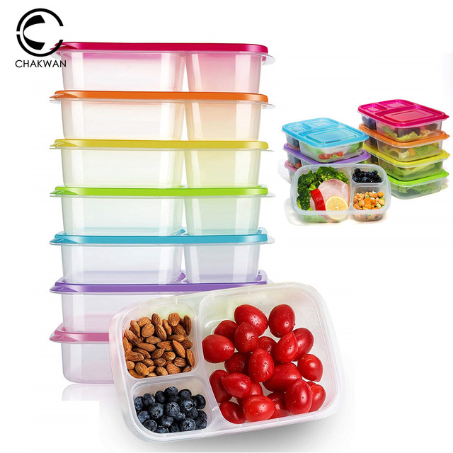 Easy 3 Compartment Classic Reusable Plastic Lunch Box Containers