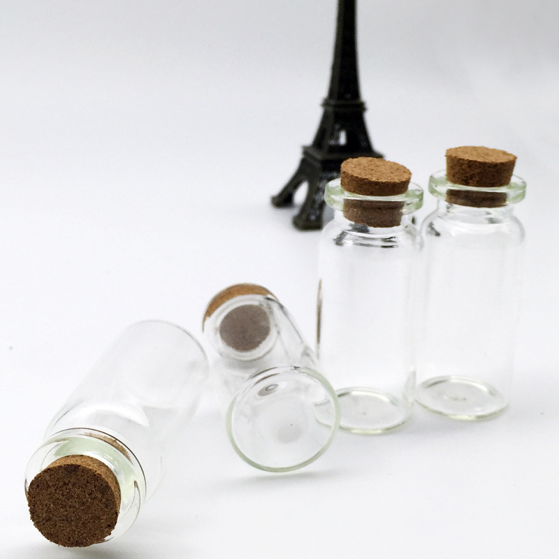 100pc l 2 5cm mini clear glass bottles with cork empty for Decorative vials