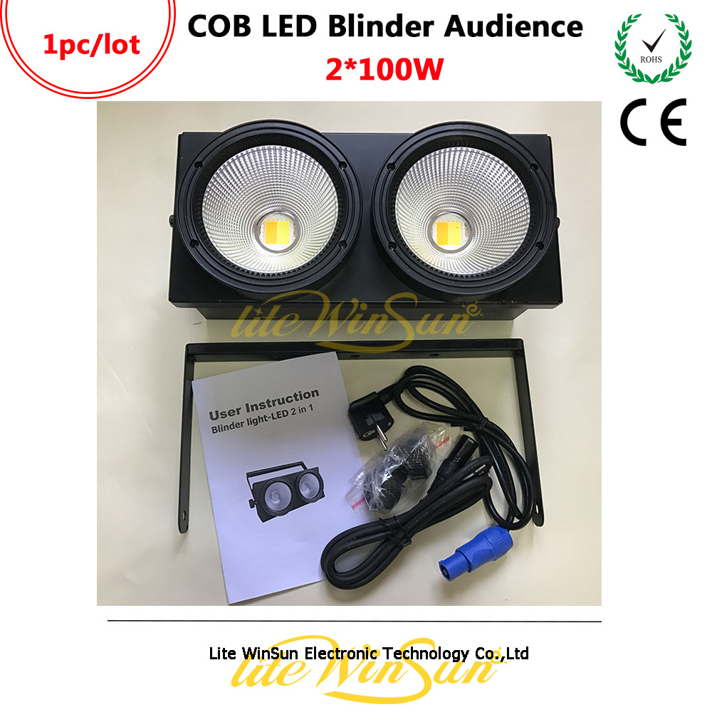 Litewinsune 2018 New 2 Eyes Audience Blinder COB Light DMX Led Stage Lighting 200W audience powerchord schuko 2 m