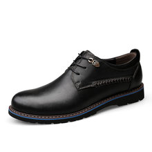 British Style Men's Genuine Leather Shoes Classic Business Casual Shoes Fashion Handmade Dress Flats Shoes Oxfords 2019 New