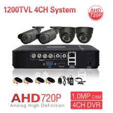 Free Tax Russia CCTV Security 4CH AHD Camera System 1080P HDMI 3-IN-1 HD DVR NVR HVR 1200TVL 720P 1.0MP IR CUT Surveillance Kit