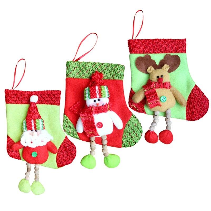 1 Pc Nette Weihnachten Hängen Socken Geschenk Tasche Schöne Santa Claus Schneemann Socken Lange Füße Große Strumpf Neue Jahr Liefert 2017 Hochwertige Materialien