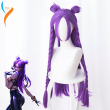 Game Character LOL K/DA Akali Cosplay Wigs KDA Heat Resistant Synthetic Hair Perucas Ahri Kaisa Wig