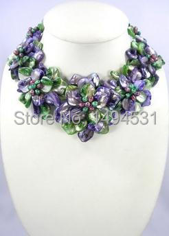 New Arriver Flower Jewelry Holiday Party Beaded Flower Necklace With Multicolor Mop Shell Freshwater Pearl Jewelry