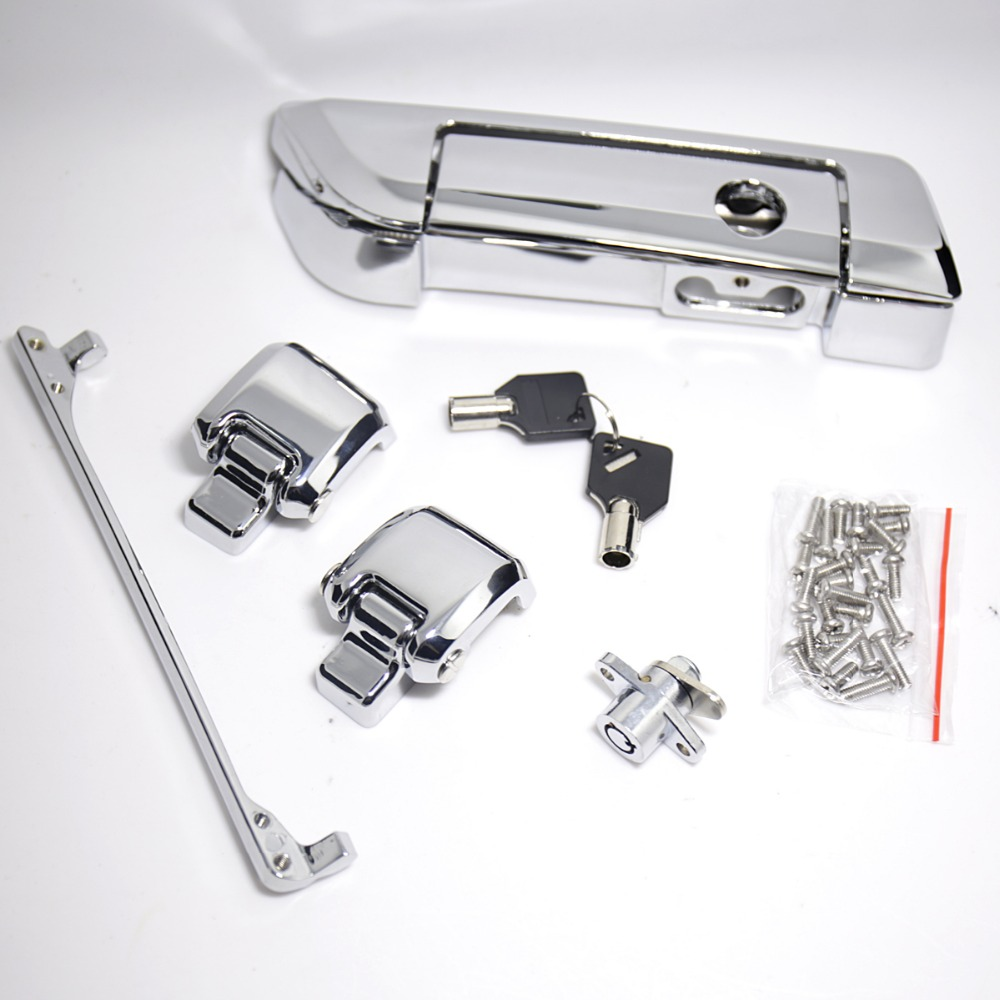Chrome Tour Pak Trunk Lid Latche Hardware Kits Fit For Harley Touring Street Glide Road King Road Glide 14 15 16