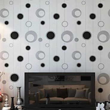 Noir Blanc Gris Argent Cercles Papier Peint Moderne Simple Pvc