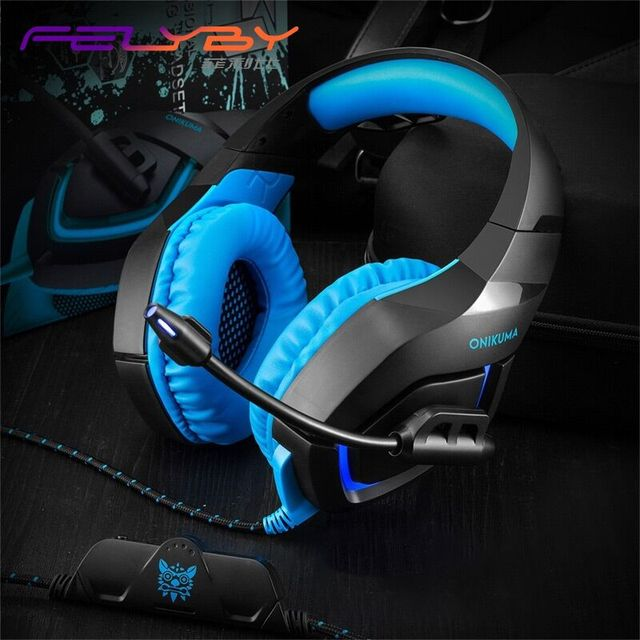 FELYBY K1B sell like hot cakes! 3.5mm Wired Gaming Headset with Microphone and LED Lights headphones for phone computer