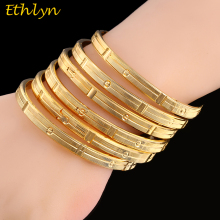 Ethlyn 6Piece/Lot Gold Color Cooper Openable  Bracelets For Women Round Bangle Fashion Jewelry Bracelets & Bangles B038