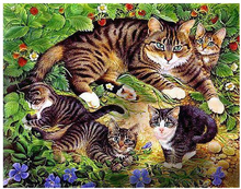 5D Diy Diamond Painting Cross Stitch Happy Cat Family 3D Needlework Embroidery Full Round Mosaic Decoration Resin Kits