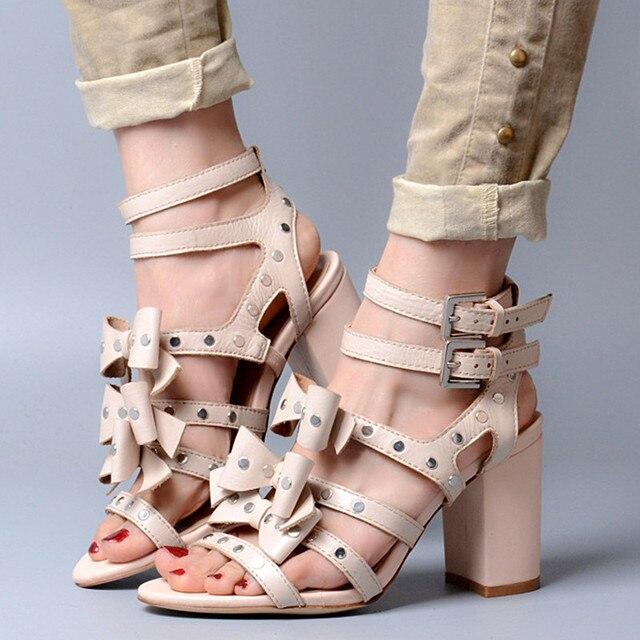 Us217 Size Heels Dress Sandals High Tie New Sandalias 02017 Rivets Women's Bow Gladiator Thick Shoes 40 Cute Buckles Woman Women In w0nN8vmO